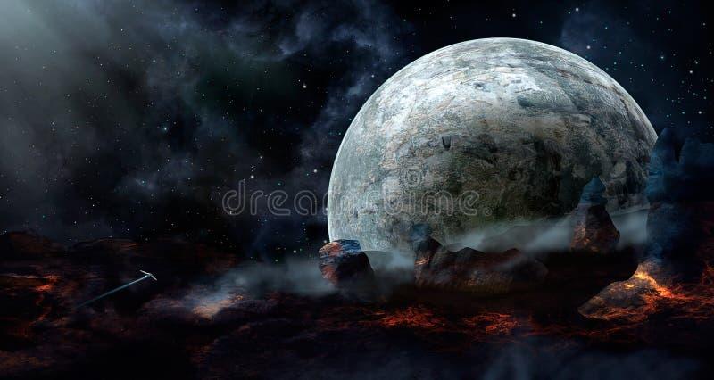 Astronautyczna scena Błękitna mgławica z planetą, statek kosmiczny i lawa, lądujemy e ilustracja wektor