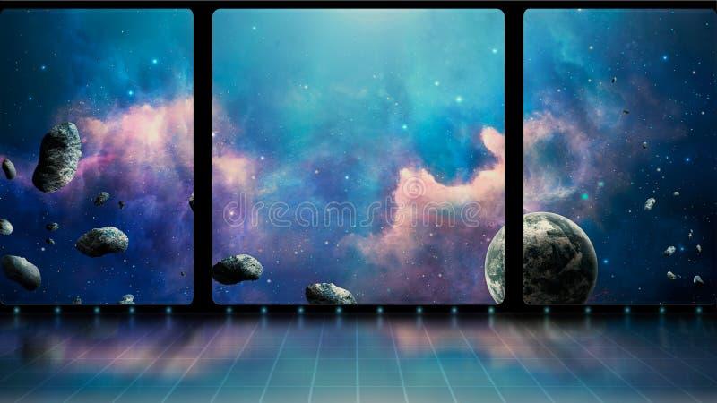 Astronautyczna scena 3D pokój z okno, błękitną mgławicą, planetą i asteroidami, Elementy meblujący NASA świadczenia 3 d royalty ilustracja