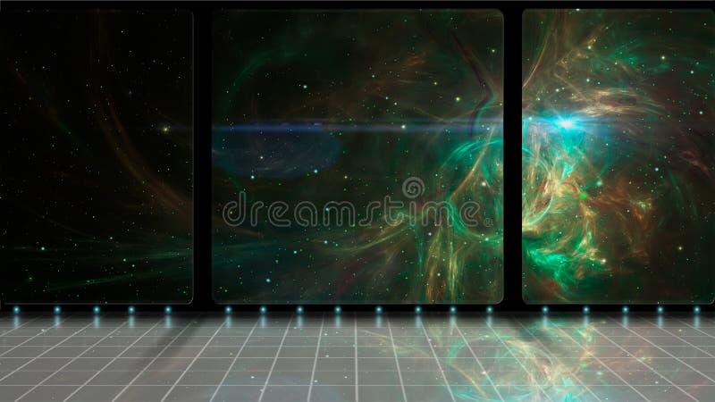 Astronautyczna scena 3D pokój z zieloną fractal mgławicą, gwiazdami i Elementy meblujący NASA świadczenia 3 d royalty ilustracja