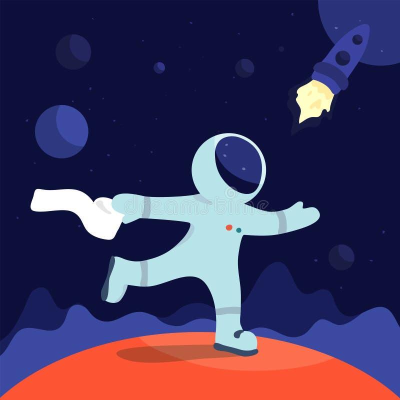 Astronautyczna scena Statek kosmiczny w kosmosie Opowieść o wzburzonym żołądku royalty ilustracja