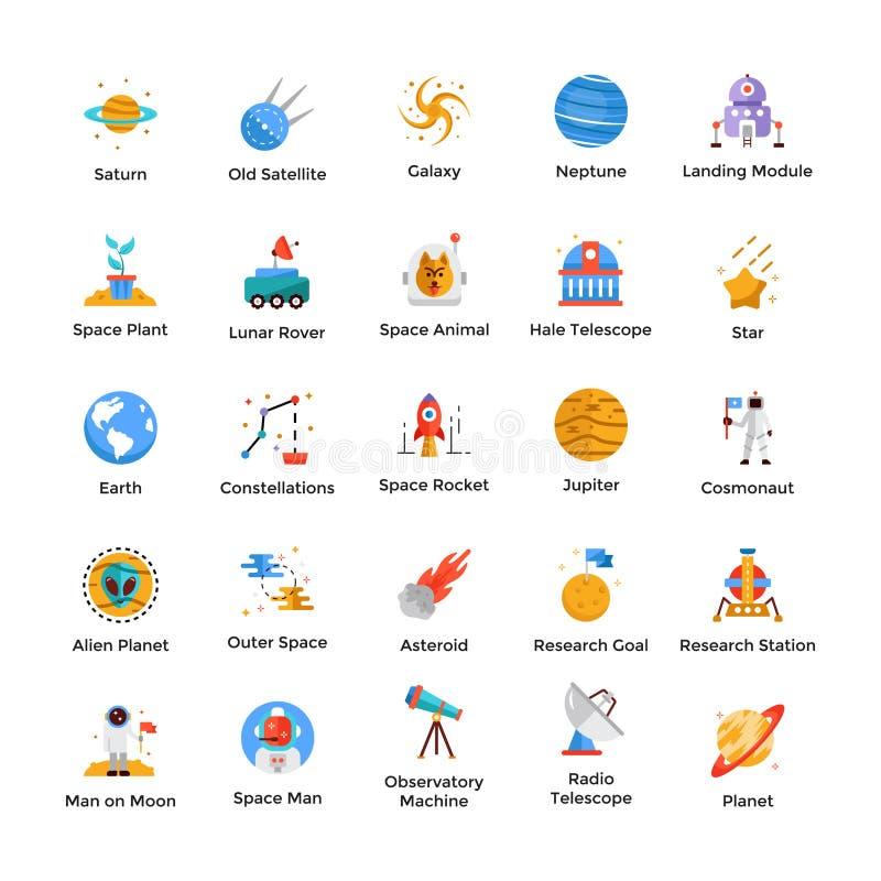 Astronautyczne I Wszechrzecze ikony Ustawiać ilustracji