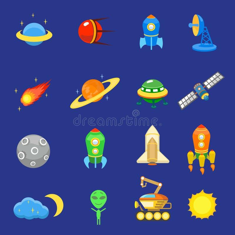Astronautyczne ikony ustawiać rakietowy galaxy planetują ufo słońce royalty ilustracja