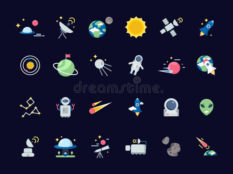 Astronautyczne ikony Ziemska księżyc z słońca i satelit gwiaździstymi widokami od teleskop wektorowej przestrzeni ikon w mieszkan royalty ilustracja