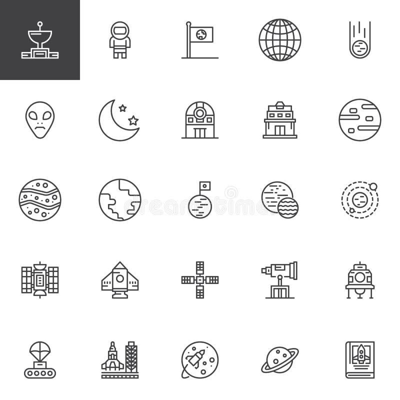 Astronautyczne kontur ikony ustawiać ilustracja wektor