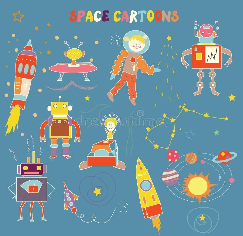 Astronautyczne kreskówki dla dziecka - śmieszny projekt ilustracja wektor