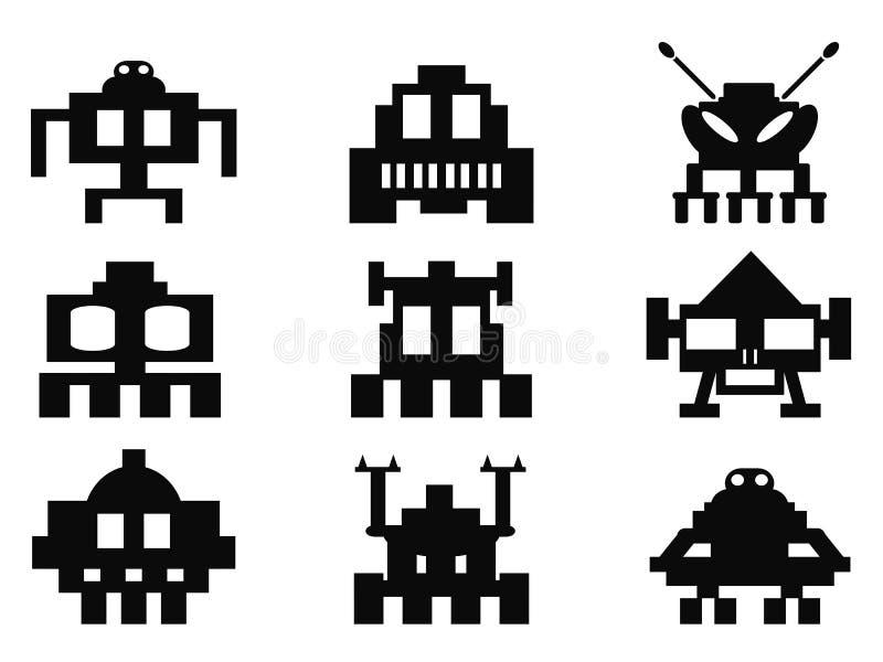 Astronautyczne najeźdźc ikony ustawiać - piksli potwory ilustracji