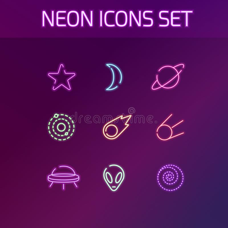 Astronautyczne neonowe ikony ustawiać dla sieci Ilustracja przestrzeń royalty ilustracja