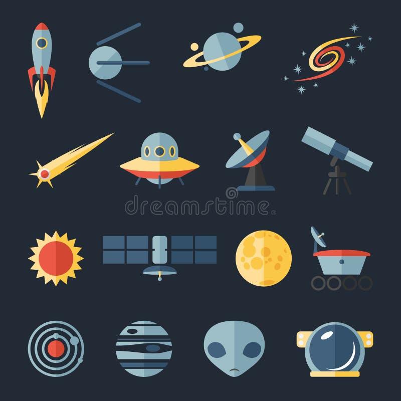 Astronautyczne płaskie ikony ustawiać ilustracja wektor
