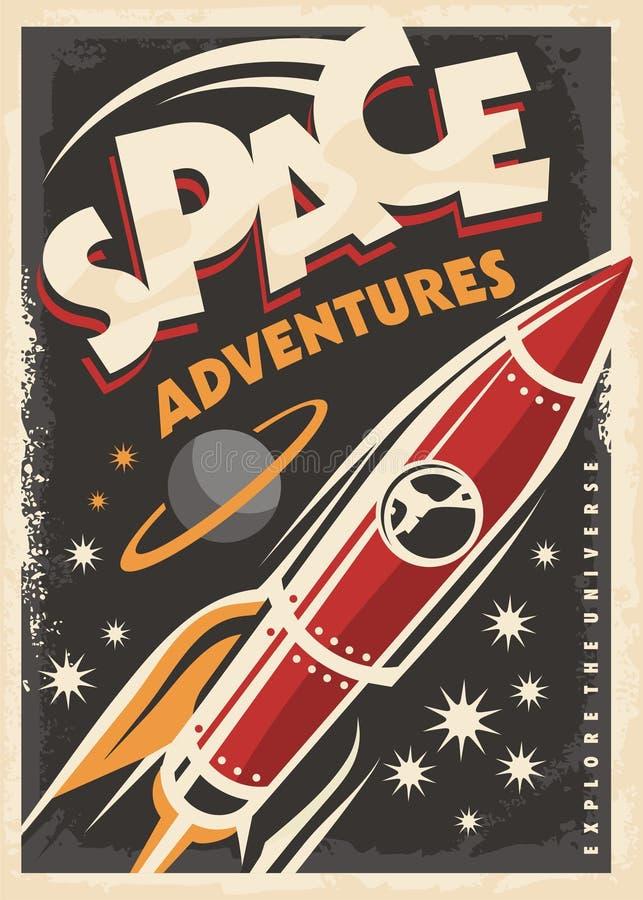 Astronautyczne przygody, retro plakatowy projekt ilustracja wektor