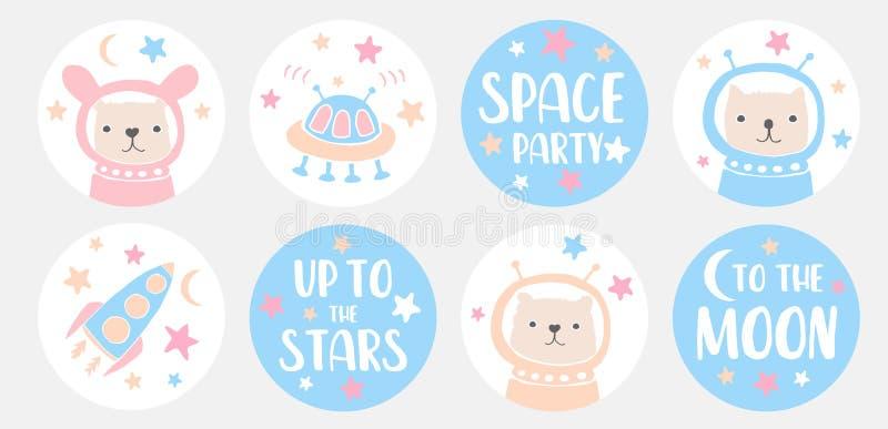 Astronautyczne przyjęcie etykietki ?mieszny kr?lik, ?liczny kot i Ltlle nied?wiedzia astronauci, Obcy Speceship, rakieta i gwiazd royalty ilustracja
