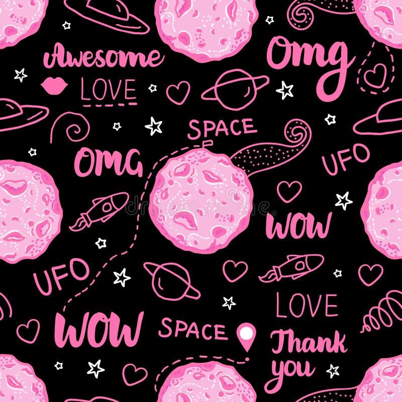 Astronautycznego Doodle Ciemny Bezszwowy wzór Wektor menchie wręczają patroszoną ilustrację odizolowywającą na czarnym tle royalty ilustracja