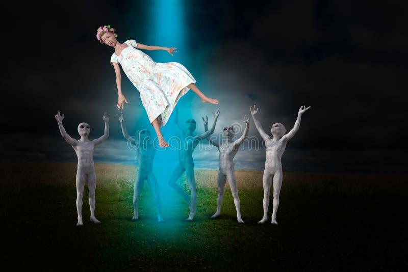 Astronautycznego obcego drużyna, UFO uprowadzenie ilustracja wektor