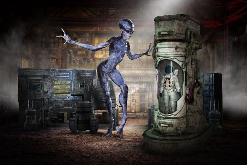 Astronautycznego obcego UFO astronauty Lab, laboratorium ilustracja wektor