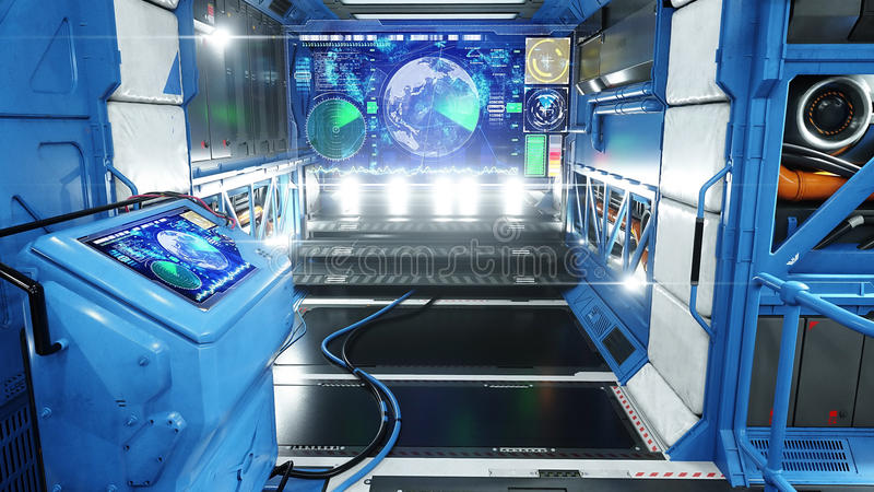 Astronautycznego statku futurystyczny wnętrze Sci fi widok świadczenia 3 d royalty ilustracja