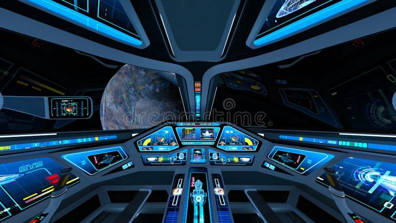 Astronautycznego statku kokpit ilustracji