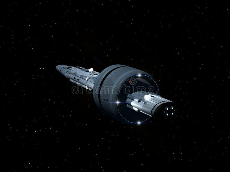 Astronautycznego statku Międzygwiazdowy lot 3D-Rendering ilustracja wektor