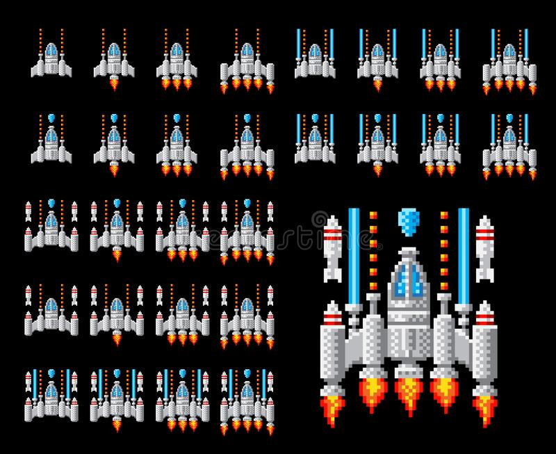 Astronautycznego statku piksla sztuki arkady gry Wideo kresk?wka ilustracji
