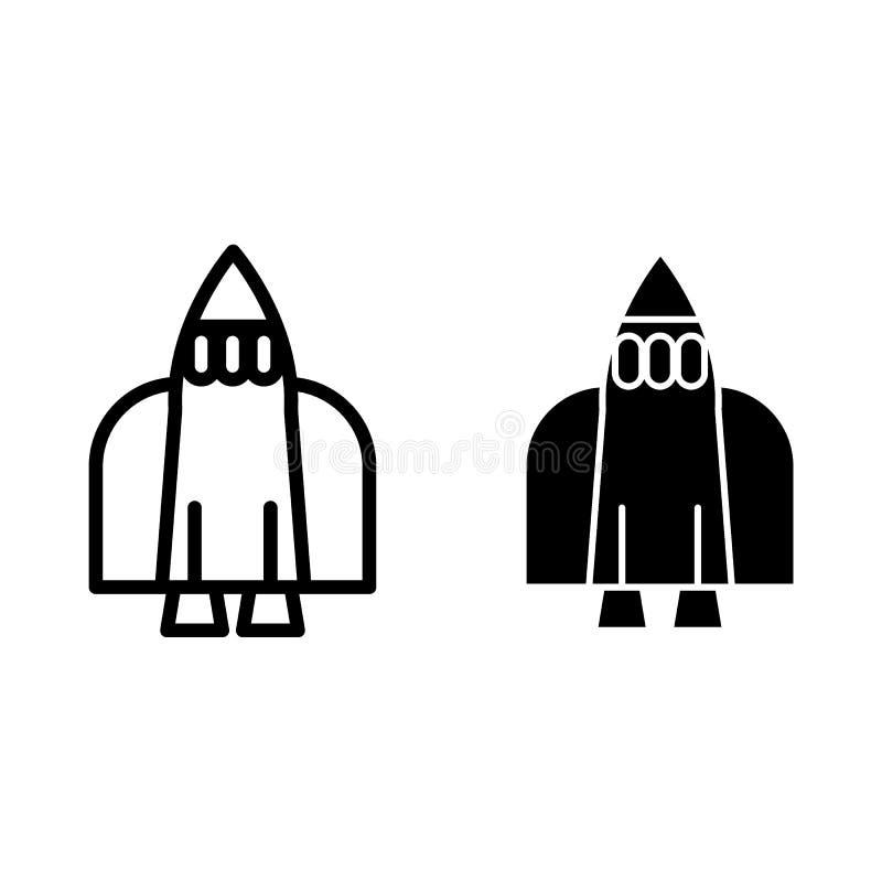 Astronautycznego wahadłowa linia i glif ikona Rakietowa wektorowa ilustracja odizolowywająca na bielu Statku kosmicznego konturu  ilustracja wektor