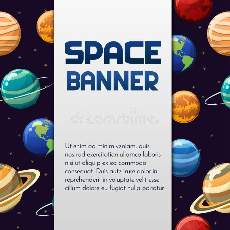 Astronautycznego wektoru sztandaru projekt z planetami i etykietka dla teksta Doskonalić dla pokrywy, plakat, zaproszenie, broszu obraz stock