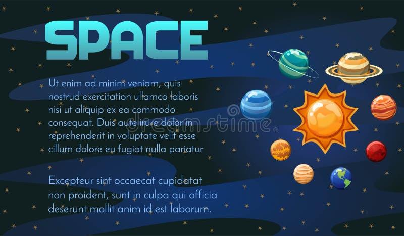 Astronautycznego wektoru sztandaru projekt z układem słonecznym, kolorowa kreskówka planetuje Doskonalić dla pokrywy, plakat, zap obrazy stock