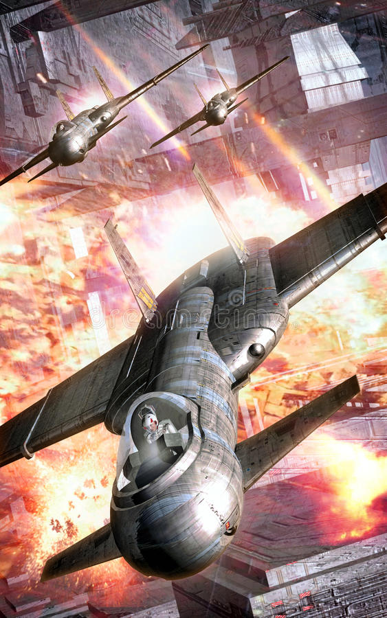 Astronautycznego wojownika ataka batalistyczna stacja ilustracja wektor