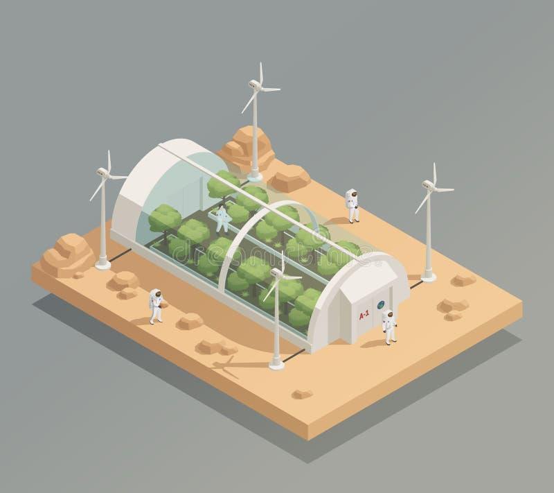 Astronautycznej Greenery łatwości Isometric skład ilustracji