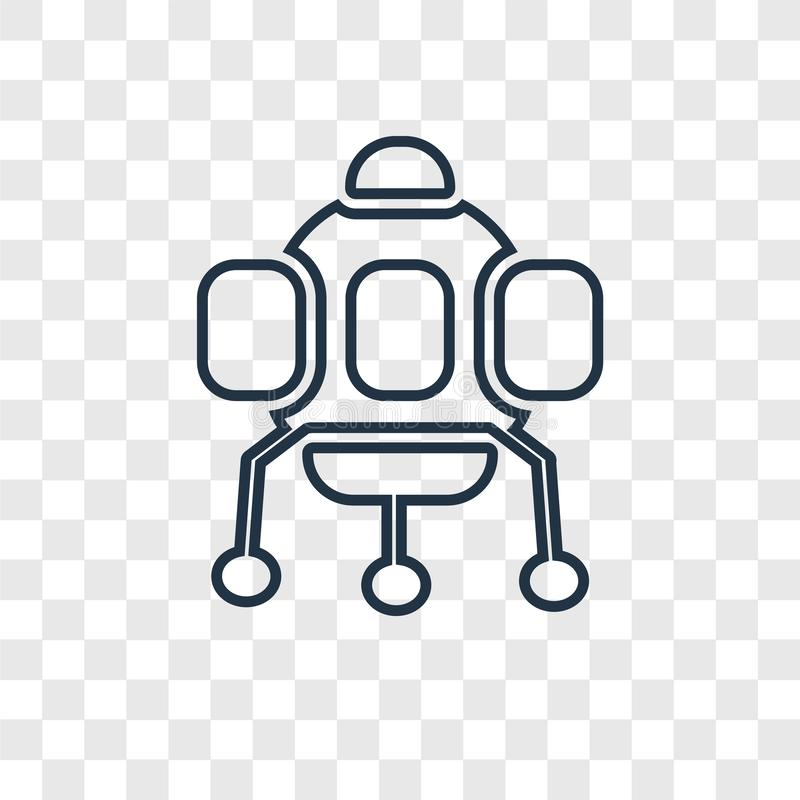 Astronautycznej kapsuły pojęcia wektorowa liniowa ikona odizolowywająca na przejrzystym ilustracji