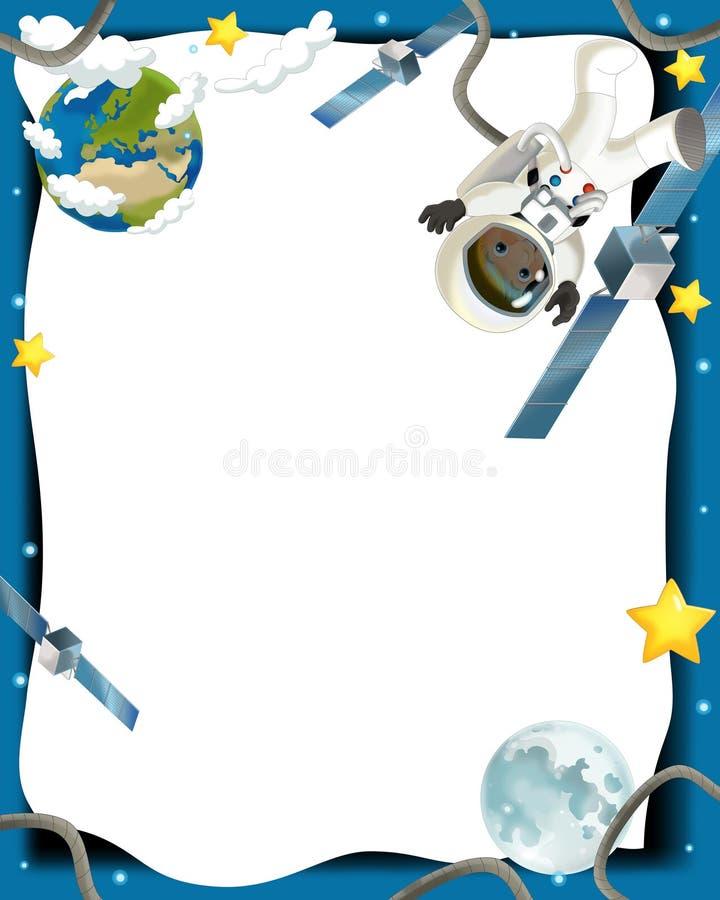 Astronautycznej Podróży Ilustracja Dla Dzieci - Szczęśliwy I śmieszny Nastrój - Zdjęcie Royalty Free