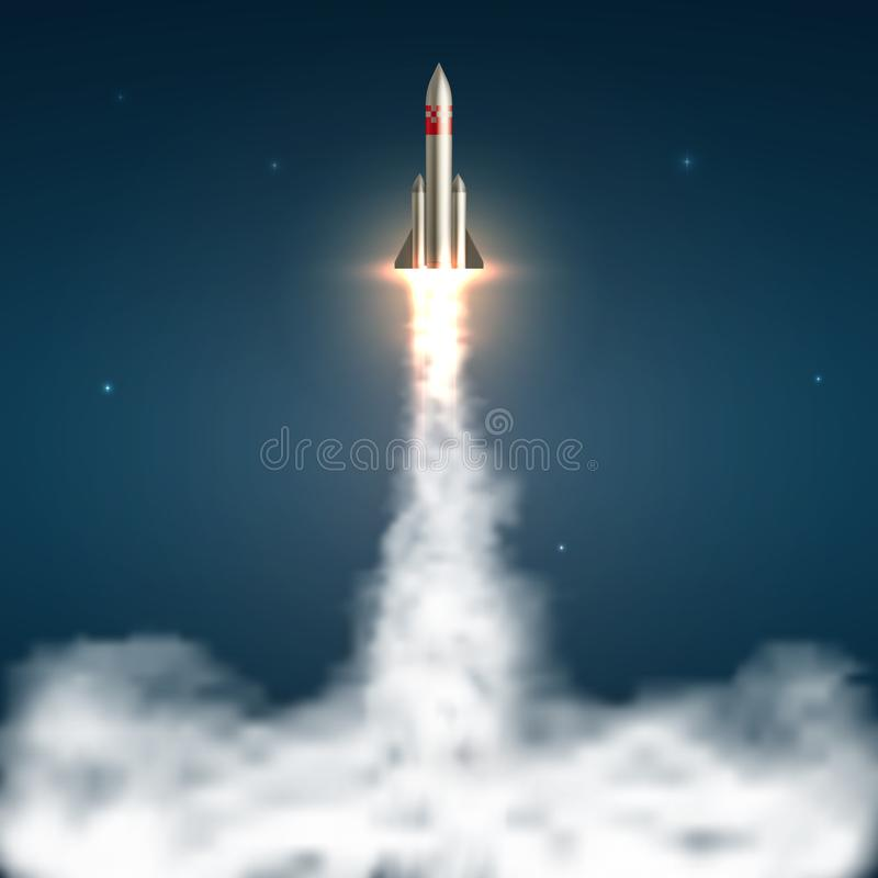 Astronautycznej rakiety wodowanie Statek kosmiczny zdejmuje z ogieniem i tryska dymiącego ślad Podróż kosmiczna i zaczyna w górę  ilustracja wektor