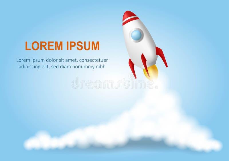 Astronautycznej rakiety wodowanie Zaczyna up poj?cie Realistyczna wektorowa ilustracja niebieska t?a Dymne chmury royalty ilustracja