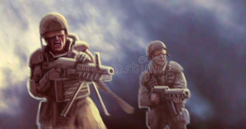 Astronautyczni kawalerzyści atakują wroga w mgle ilustracji