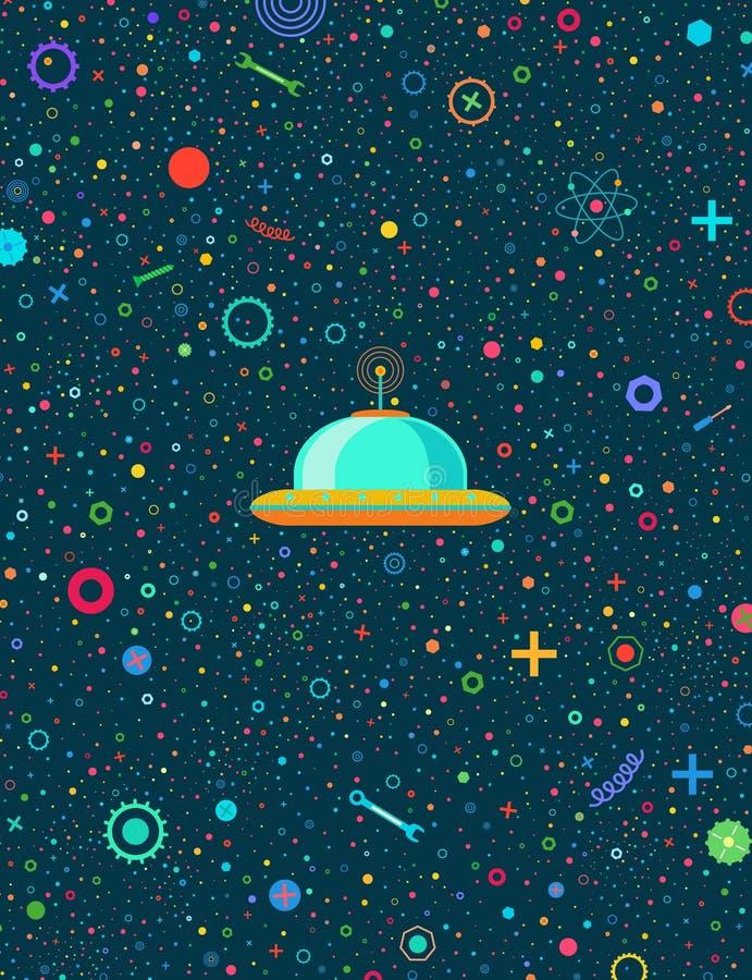 Astronautyczni roboty pocztówkowi ilustracji