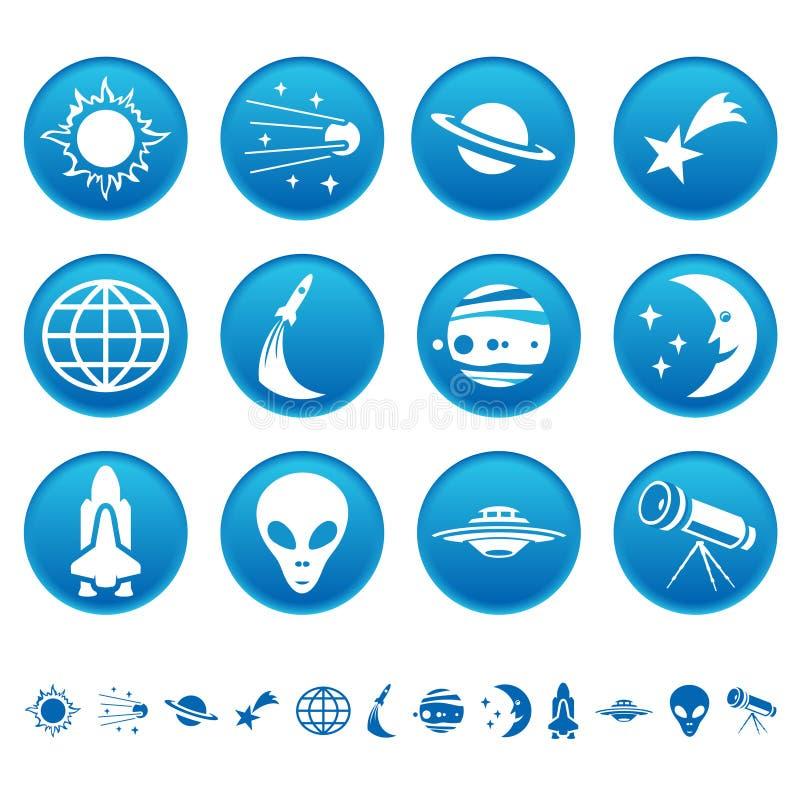 astronautyczni symbole royalty ilustracja