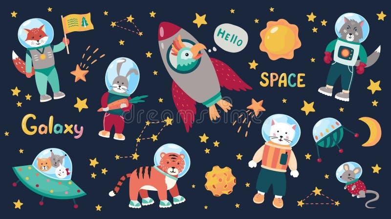 Astronautyczni zwierzę dzieciaki Kreskówki dziecka astronauci z gwiazdami, planety i statki kosmiczni Wektorowi doodle zwierzęta  royalty ilustracja