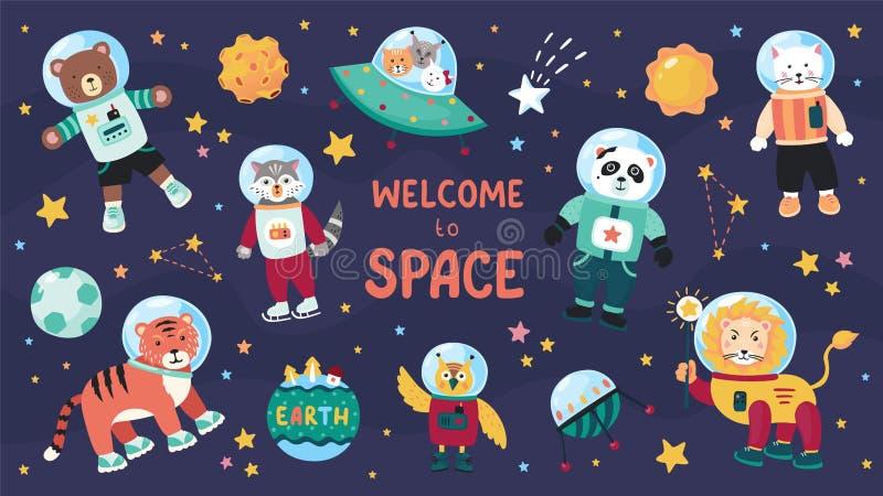 Astronautyczni zwierzęta Ślicznego kreskówki modnego dziecka zwierzęcy charaktery w astronautycznych kostiumach, set nauka dzieci ilustracji