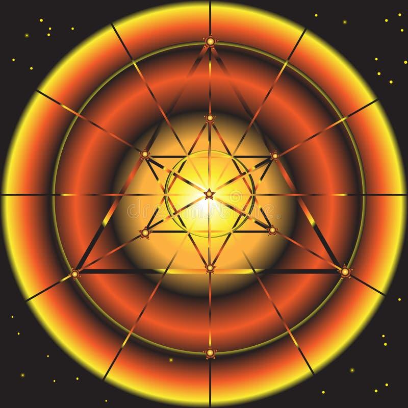 Astronautyczny abstrakcjonistyczny fantastyczny tło z gwiazdowym symbolem ilustracja wektor