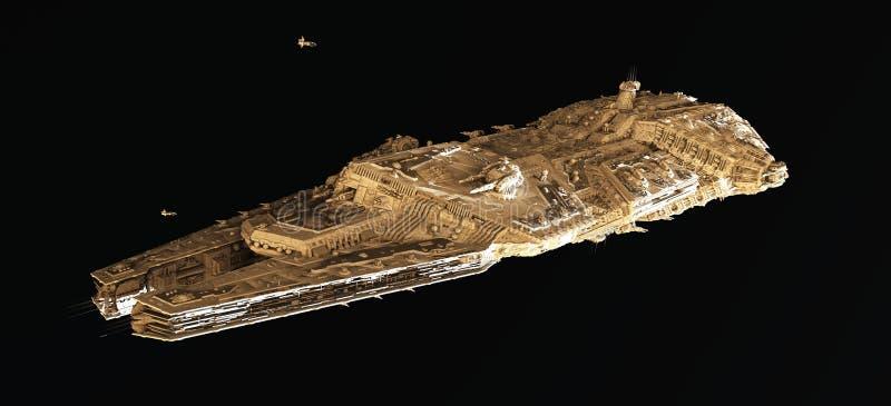 Astronautyczny Batalistyczny krążownik Od Above ilustracja wektor