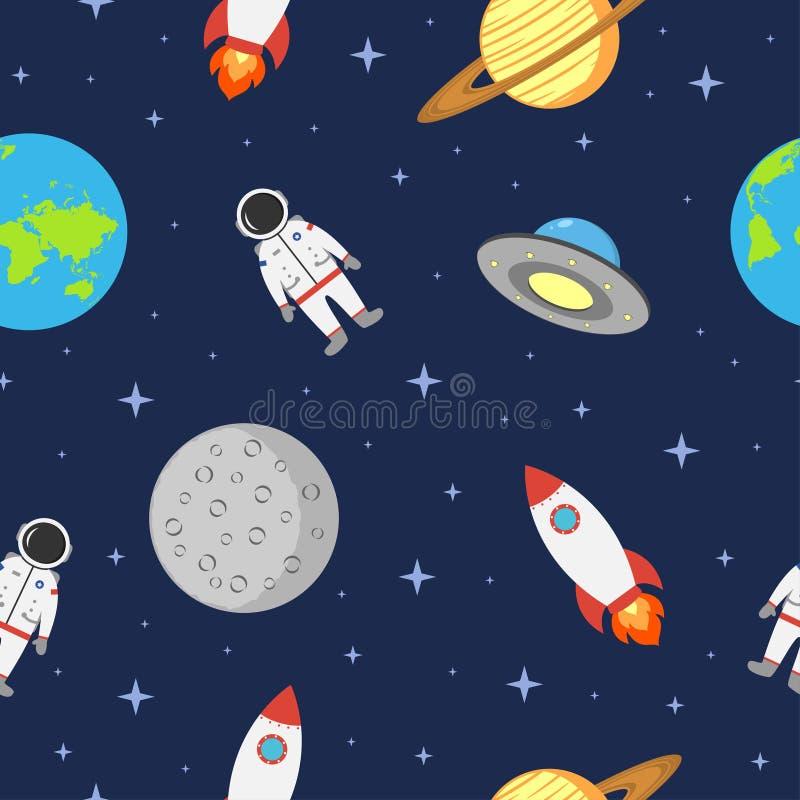Astronautyczny bezszwowy tło z astronauta, planetą, rakietą, księżyc i ufo, Pozaziemski wzór w mieszkanie stylu wektor ilustracji