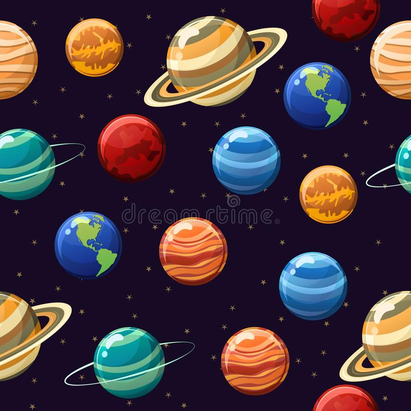Astronautyczny bezszwowy wzór z planetami odizolowywać na astronautycznym tle fotografia royalty free