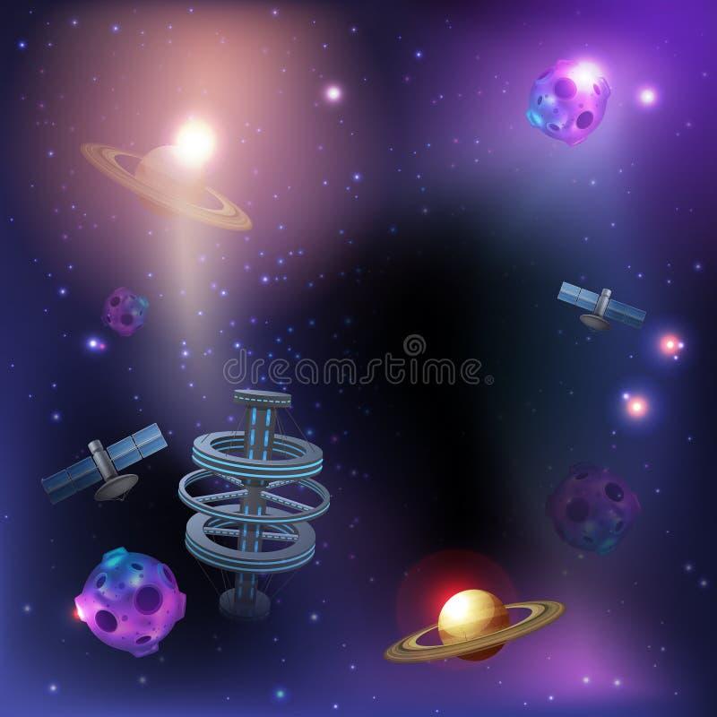 Astronautyczny Ciemny tło ilustracja wektor