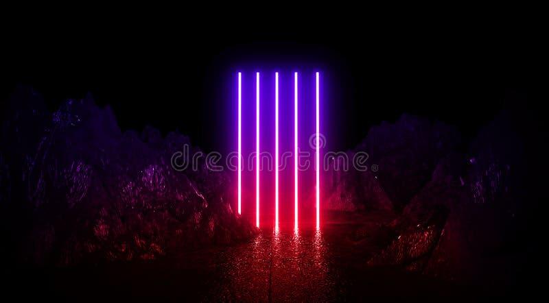 Astronautyczny futurystyczny krajobraz Ogniści meteoryty, iskry, dym, światło wysklepiają Ciemny tło z lekkim elementem w centrum royalty ilustracja