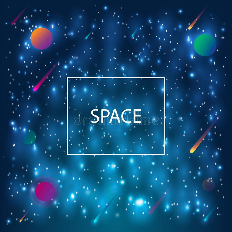 Astronautyczny galaktyki tło z planetami, mgławicą, stardust i jaskrawymi jaśnienie gwiazdami, royalty ilustracja