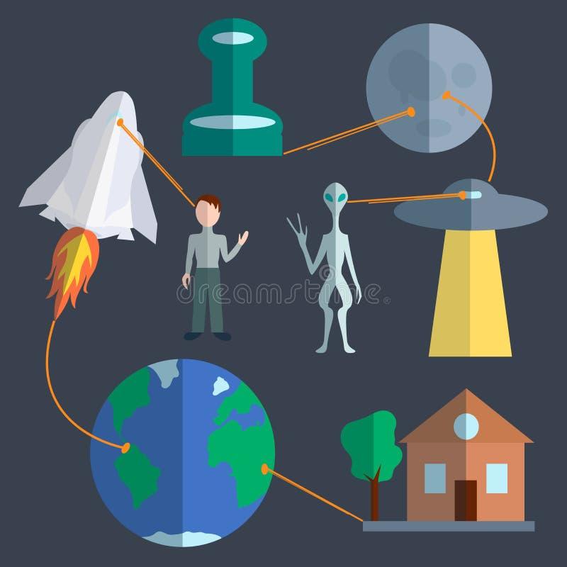 Astronautyczny infographics set ilustracji