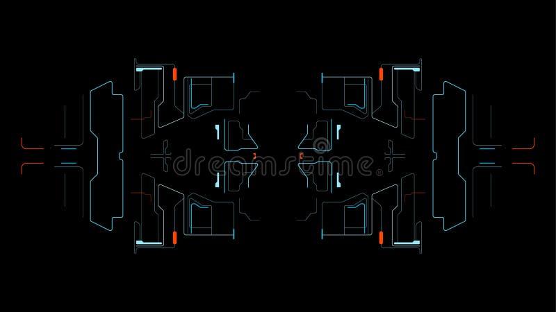 Astronautyczny interfejs dla gry ilustracja wektor