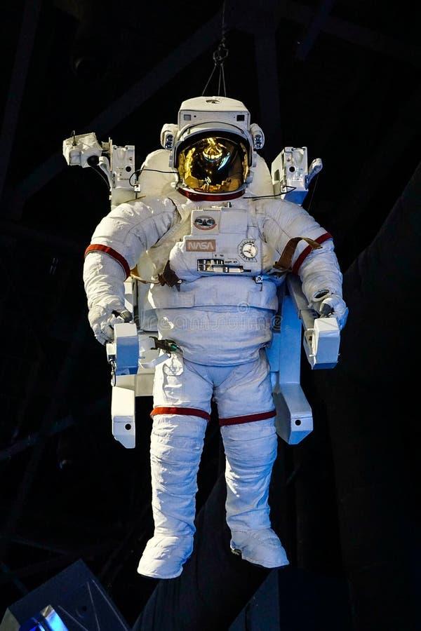Astronautyczny kostium na pokazie przy centrum lotów kosmicznych imienia johna f. kennedyego obrazy royalty free