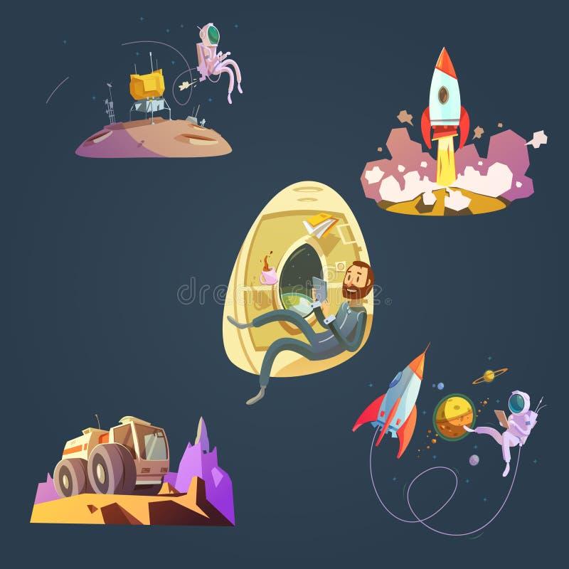 Astronautyczny kreskówka set ilustracji
