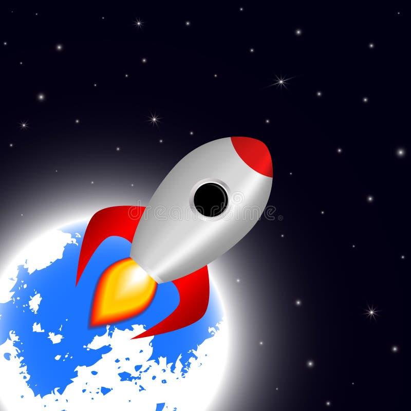 Astronautyczny kreskówki tło z rakietowymi statek kosmiczny gwiazdami i planeta wektoru ilustracją ilustracja wektor