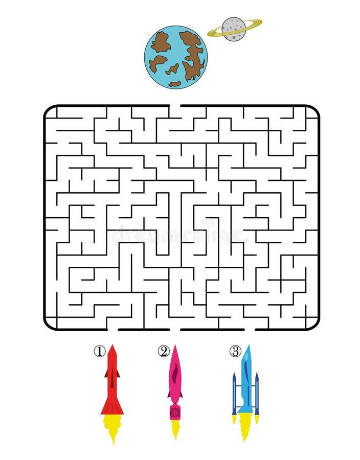 Astronautyczny labirynt ilustracji