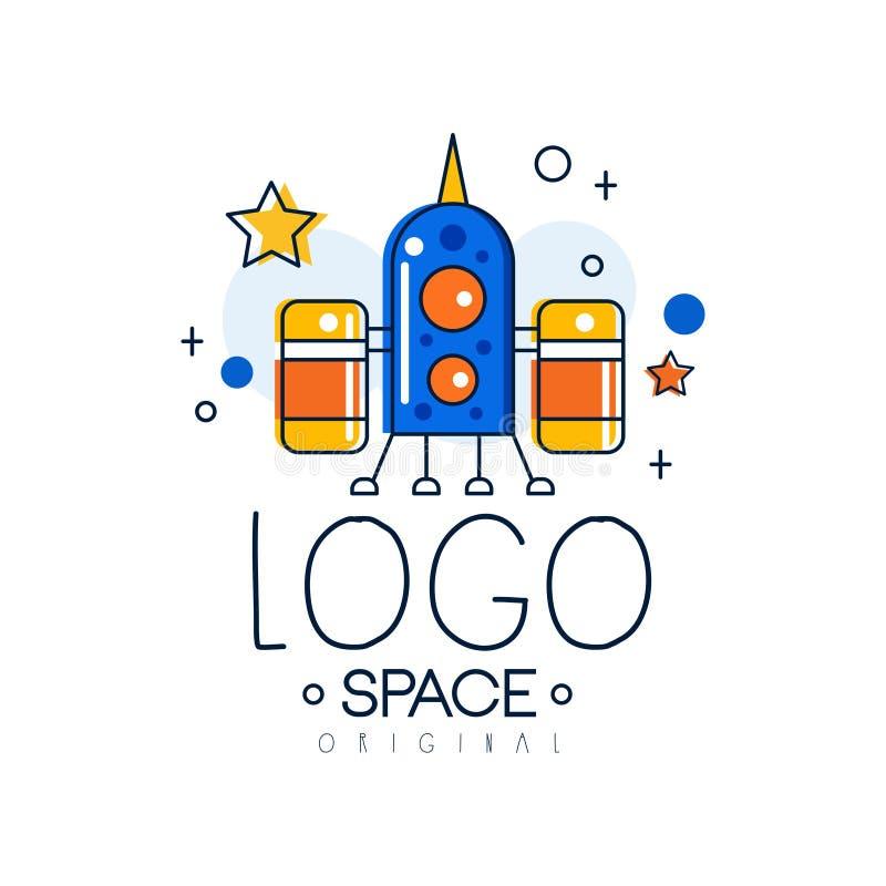 Astronautyczny loga oryginał, misja kosmiczna i eksploracja, przylepiamy etykietkę wektorową ilustrację na białym tle royalty ilustracja