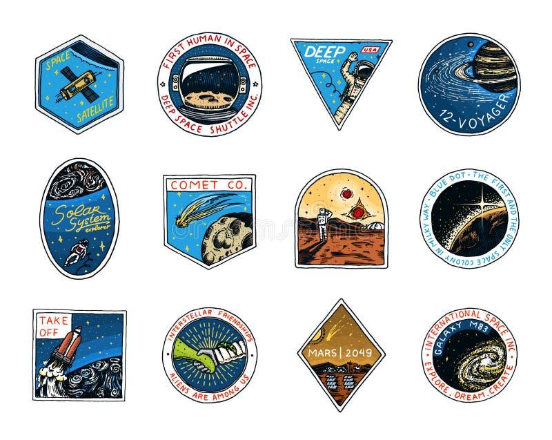 Astronautyczny logo Eksploracja astronomiczny galaxy Misja Mars Astronauta lub kosmita przygoda Planety i royalty ilustracja